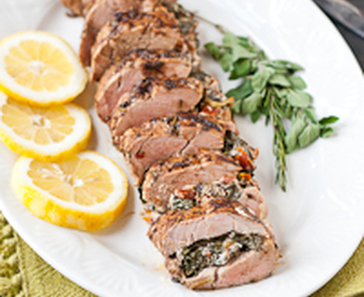 Mediterranean Stuffed Balsamic and Herb Pork Tenderloin #PinkPork