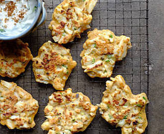 Cauliflower Fritters with Cucumber, Yoghurt and Roasted Cumin Dip