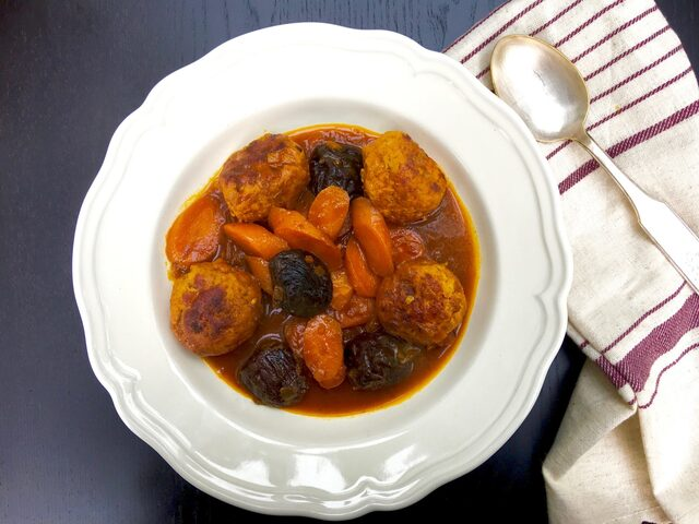 Persian Sweet & Sour Chicken Meatballs with Carrots & Prunes
