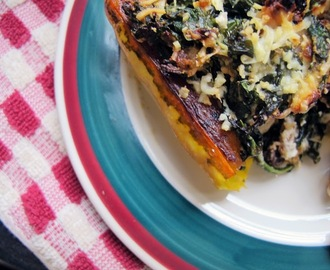 delicata boats with kale stuffing