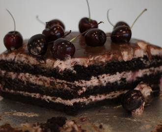 Very cherry chocolate cake