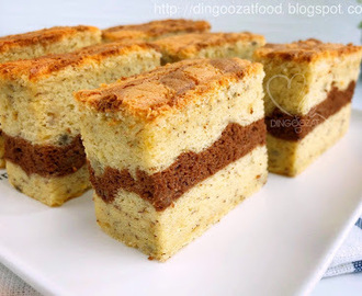 Banana & Chocolate Layer Moist Sponge Cake/ Ogura Cake 香蕉巧克力双层相思蛋糕