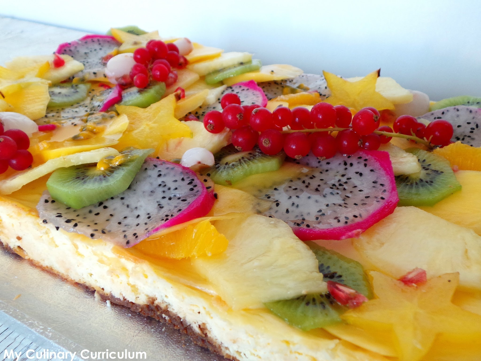 Tarte façon cheesecake au citron vert et  aux fruits exotiques (Lime cheesecake pie with exotic fruits)