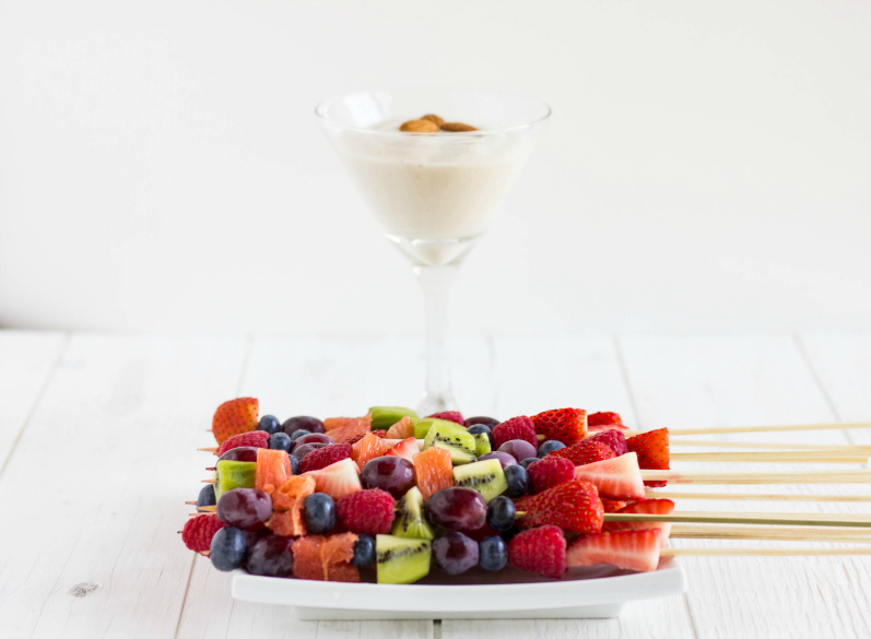 Fruit Kabobs with Almond Milk Whipped Cream
