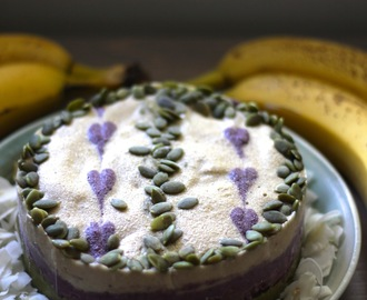 BANANA ICE CREAM CAKE with MATCHA, BLUEBERRY + VANILLA LAYERS