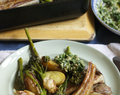 Lamb traybake with Tenderstem and salsa verde