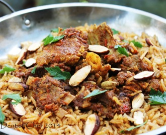 Lamb & Goat Mandi Rice (Arabian Spicy Roasted Lamb and Goat Meat Served Over Saffron Infused Basmati Rice)
