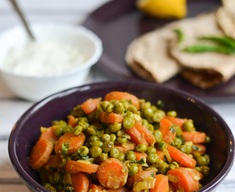 "Gajar Matar sabzi| Easy carrot & green peas side dish with ""almost"" no spice"