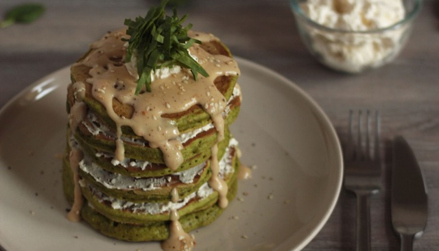 Spinach Pancakes with Feta Cream Cheese and Homemade Sesame Coconut Sauce