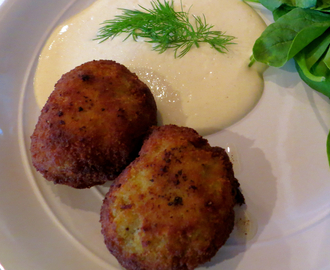 Gherkin, butternut squash and sweet potato Arancini with a cream of Dijon sauce