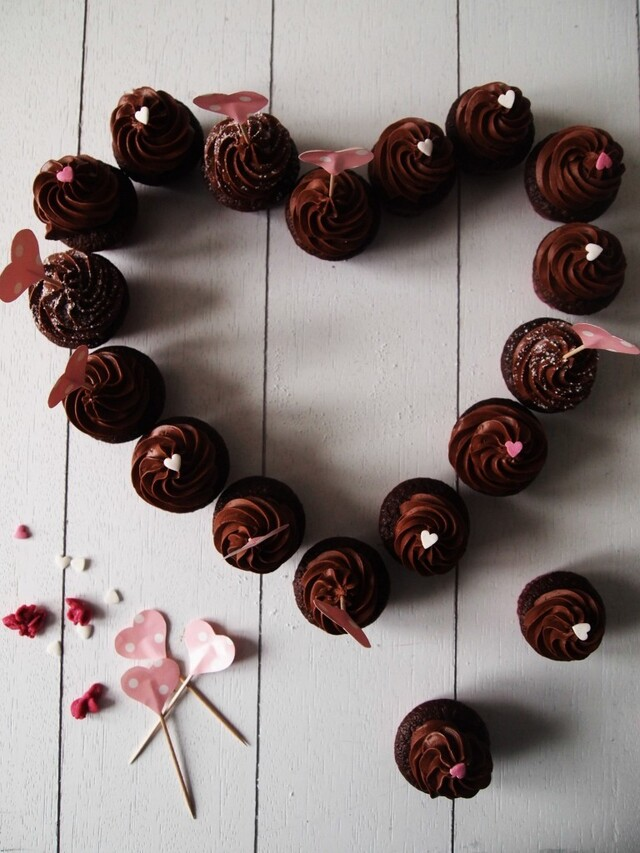 Mini Chocolate Cupcakes with Chocolate Creme Fraîche Frosting for Valentine's Day