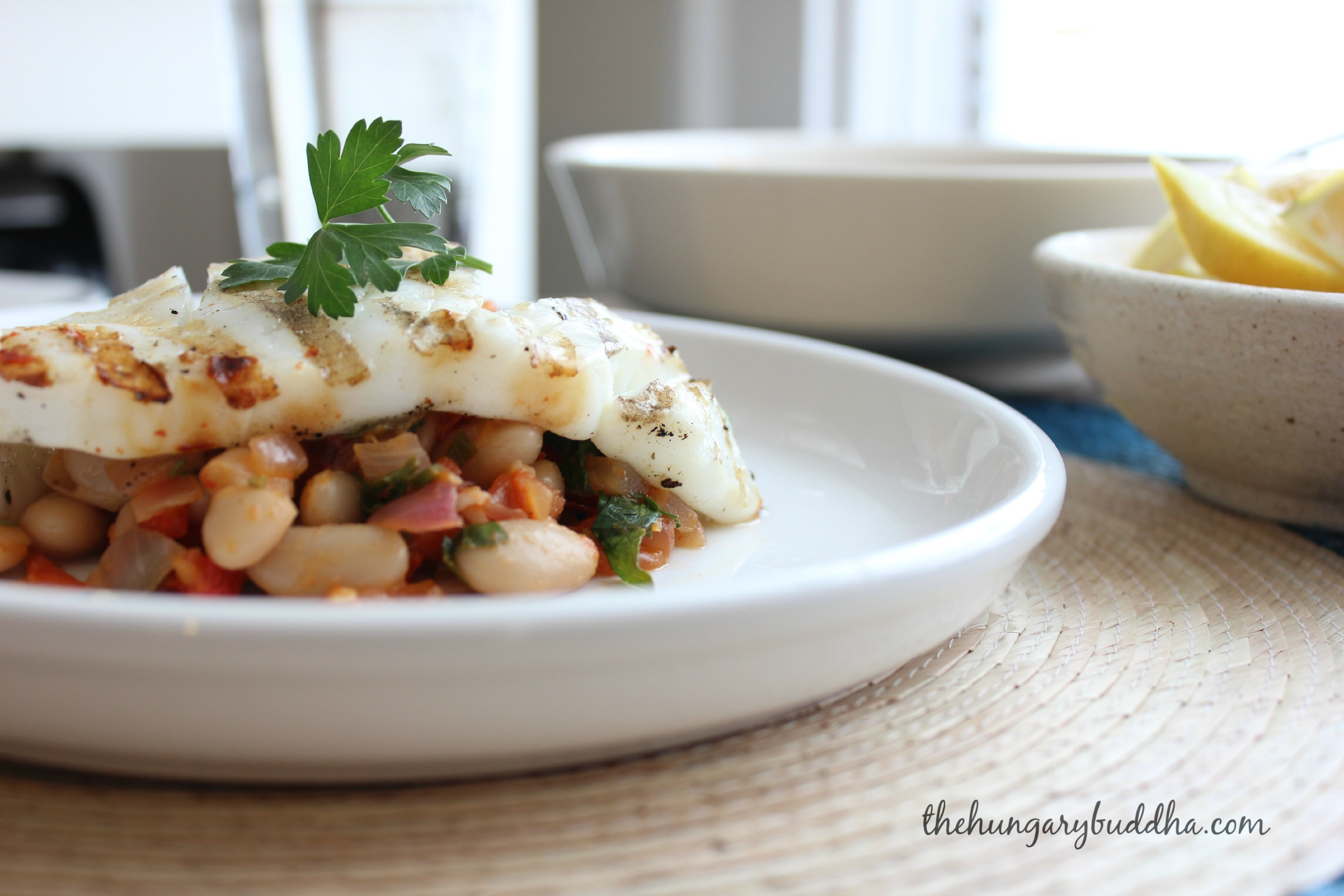 No More Tears:  Grilled Calamari Steaks with Kuru Fasulye, or White Bean Salad