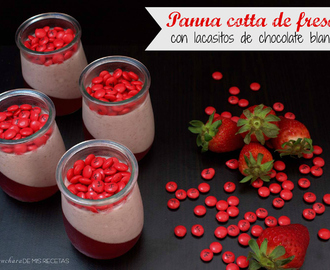 Panna cotta de fresas con lacasitos de chocolate blanco