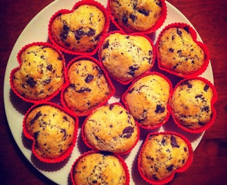HEART SHAPED  CHOCOLATE  CHIP MUFFINS