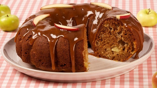 Honey-Caramel Apple Bundt Cake 	             light-tasting olive oil granulated sugar liquid honey eggs vanilla all-purpose flour cinnamon baking powder baking soda salt diced cored peeled apples granulated sugar mild liquid honey whipping cream butter