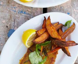 Pouting fish fingers, sweet potato chips & cheat's basil mayo