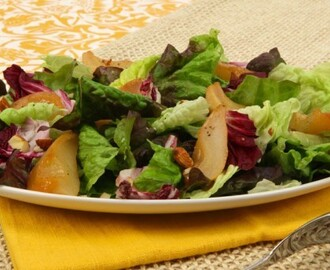 Roasted Pear and Greens with Pear Vinaigrette 	             small ripe pears vegetable oil packed light brown sugar lemon juice torn mixed salad greens torn radicchio leaves roasted almonds pear or cider vinegar vegetable oil shallots pinch salt pinch pepper