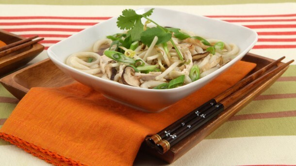Turkey Noodle Soup with Shiitake Mushrooms 	             fresh Udon noodles vegetable oil onion cloves garlic sliced shiitake mushrooms grated gingerroot salt soy sauce shredded cooked turkey green onions bean sprouts leaves