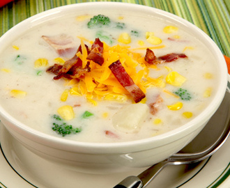 Corn and Bacon Chowder 	             strips bacon onions clove garlic potatoes chicken broth corn kernels broccoli florets milk salt pepper shredded light cheddar-style cheese