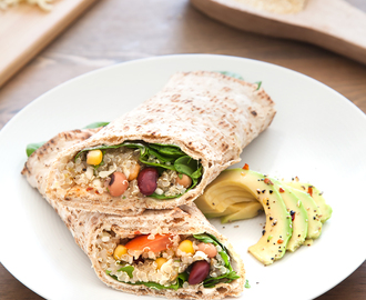 Spicy quinoa and bean protein wrap
