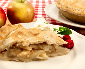 Best-Ever Apple Pie 	             shortening butter all-purpose flour salt Ice water thinly sliced peeled tart apples lemon juice granulated sugar all-purpose flour cinnamon egg yolk granulated sugar