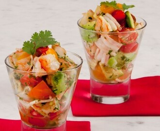 Shrimp and Avocado Cocktail 	             half lemons half onions salt large raw shrimp lime juice extra virgin olive oil hot pepper sauce avocados cherry tomatoes chopped fresh coriander minced red onions sprigs fresh coriander