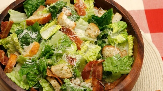 The Ultimate Caesar Salad 	             head romaine lettuce croutons grated parmesan cheese vegetable oil grated parmesan cheese white wine vinegar dijon mustard anchovy paste cloves garlic each salt and pepper worcestershire sauce light mayonnaise