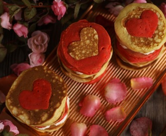 Valentine's Pancakes with Gignger Cream and Sugared Rose Petals
