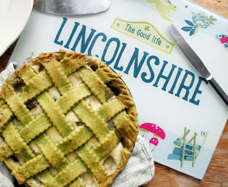 tenderstem and mushroom pie with lincolnshire poacher cheese sauce and spinach lattice pastry