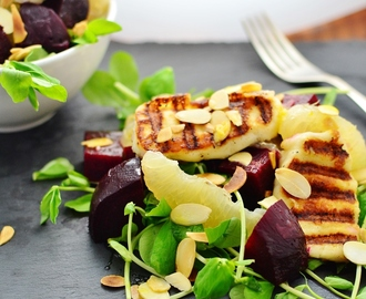 Beetroot Salad with Grapefruit and Halloumi
