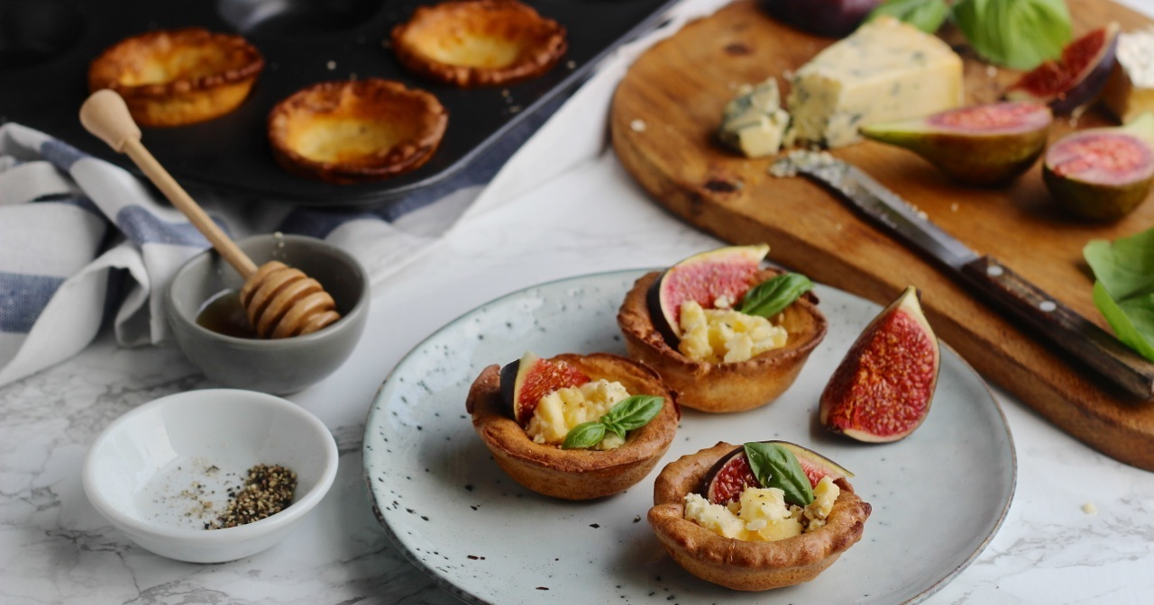 Gluten Free Yorkshire Puddings with Figs & Blue Cheese