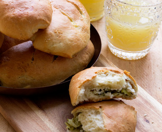 Zucchini and goat cheese stuffed bread #BreadBakers