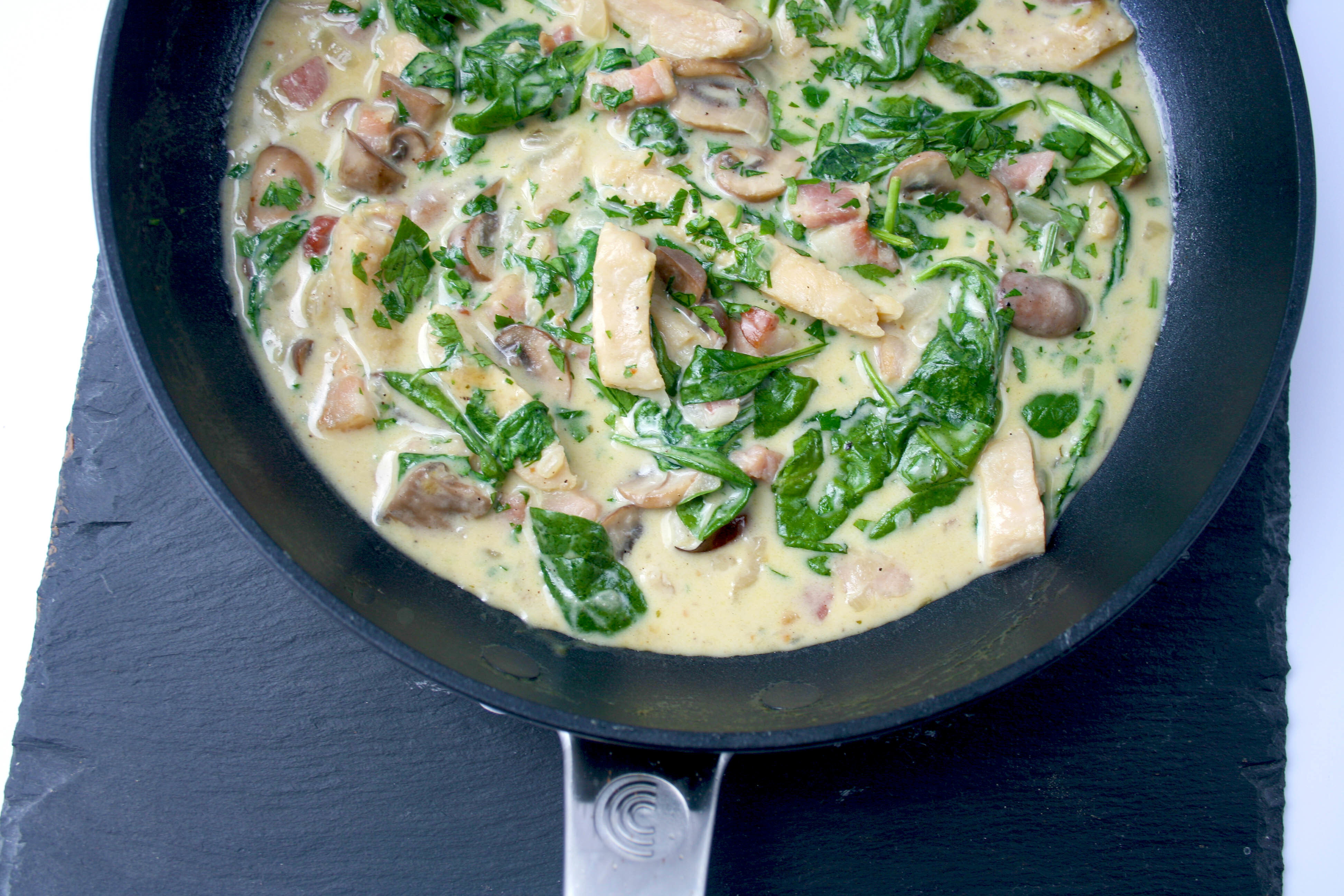 Skillet Chicken With Bacon, Mushrooms & Spinach