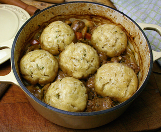 lincolnshire sausage stew with butter beans and herb dumplings