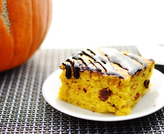 Pumpkin Cake with Dark Chocolate Drizzle