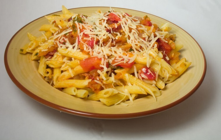 Penne Pasta with Crab, Roasted Peppers and Cheese