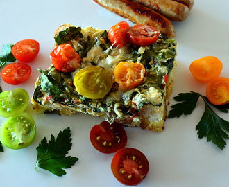 SPINACH + HEIRLOOM TOMATO STRATA WITH ASIAGO
