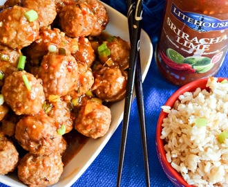 Slow Cooker Beef Meatballs with Sriracha Lime Sauce