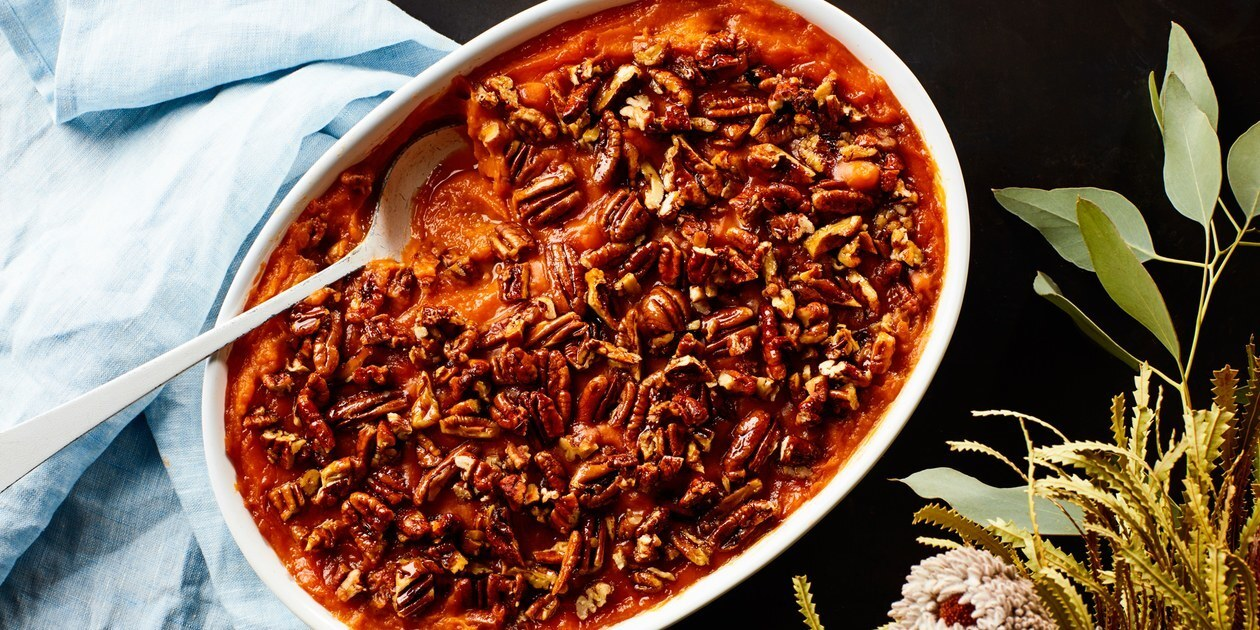 3-Ingredient Sweet Potato Casserole With Maple Pecans
