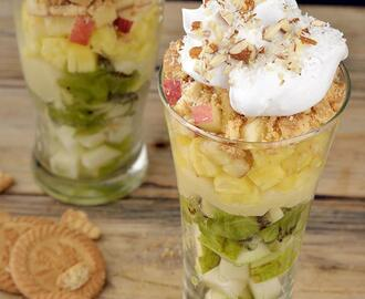 Layered Fruit, White Chocolate and Coconut Biscuit Dessert