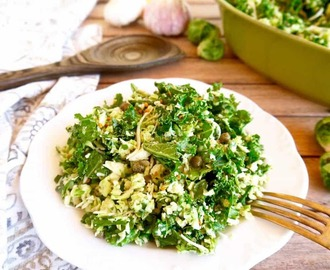 Shredded Brussels Sprouts + Kale Salad with Garlic Caper Dressing