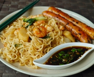 Seafood Noodles Chinese Style (Noodles with prawn, fish ball, squid and vegetables),Sauced & Spiced Sausages and Soya Chilli Sauce