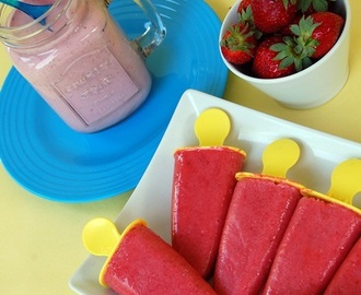 Smoothie και γρανίτες με φραουλες/ Strawberry Smoothie And  Popsicles