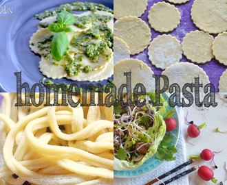 Weekend of the Nudel totale: Beste homemade Pasta mal mit Pesto mal im Salatnest mit knuspriger Sesam-Ente und  Hoisin-Limetten-Dressing