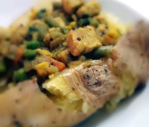 Mushy Pea Quorn Chicken Curry great as a Jacket (Baked) Potato Topping