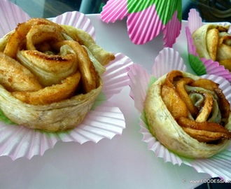 Apple Nut Caramel Puff Pastry Roses