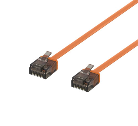 DELTACO U/UTP Cat6a patchkabel, flat, 1mm tjock, 2m, orange