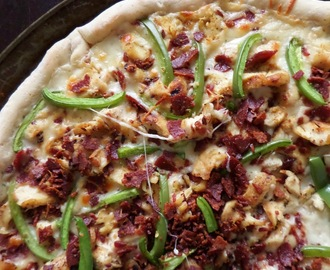 Grilled Chicken Bacon Alfredo Pizza with Easy Thin-Crust Pizza Dough