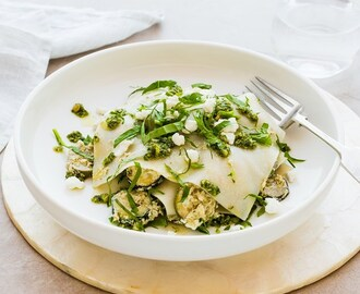 Courgette, Artichoke and Goat's Cheese Open Lasagne with Pesto