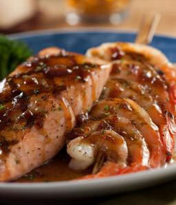 Maple Glazed Salmon and Shrimp